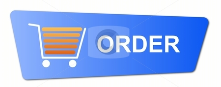 Blue Order Button stock photo, Blue order button with a shopping cart on white background. by Henrik Lehnerer