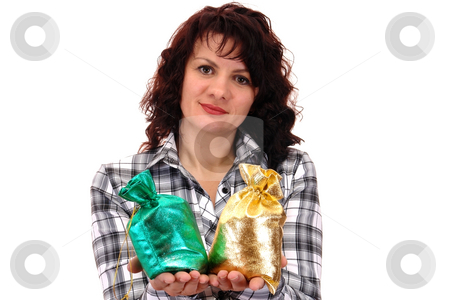 Girl with gift stock photo, Girl with gift isolated on white background by Salauyou Yury