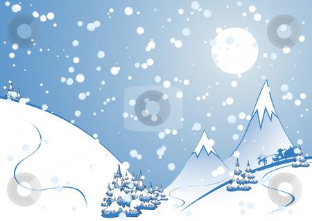 Christmas background stock vector clipart, Winter background, rocks, fir-tree silhouette, nature, snow, santa by Vadym Nechyporenko