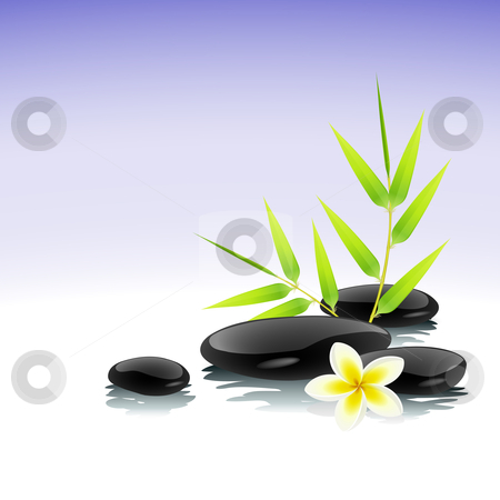 Zen background stock vector clipart, Zen background with bamboo, stones and frangipani flower by Laurent Renault