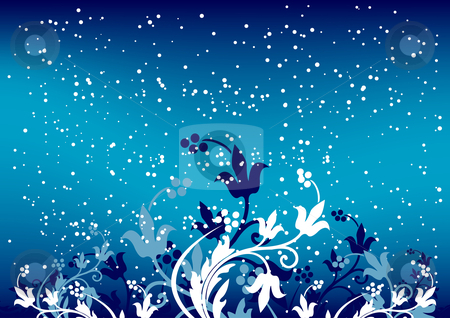 Abstract winterbackground with flakes and flowers in blue color stock vector clipart, Abstract winterbackground with flakes and flowers in blue color by Vadym Nechyporenko