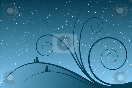 Abstract winter scrolls stock vector clipart, Abstract winter scrolls with snowflake and firtree by Vadym Nechyporenko
