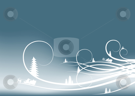 Abstract winter background with firtree silhouettes and Santa Cl stock vector clipart, Abstract winter background with firtree silhouettes and Santa Claus by Vadym Nechyporenko
