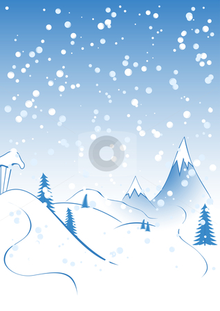 Christmas background stock vector clipart, Winter background, rocks, fir-tree silhouette, nature, snow by Vadym Nechyporenko