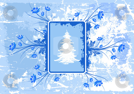 Grunge winter background stock vector clipart, Abstract grunge background with Christmas tree and blue flowers by Vadym Nechyporenko
