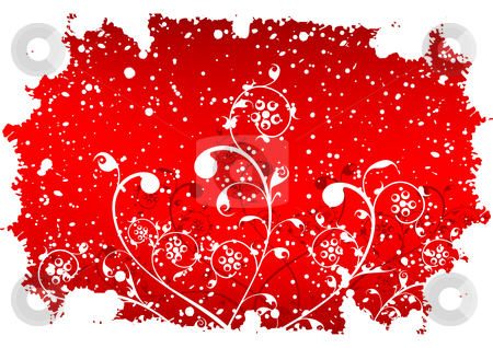 Abstract grunge winter background with flakes and flowers in red stock vector clipart, Abstract grunge winter background with flakes and flowers in red color by Vadym Nechyporenko