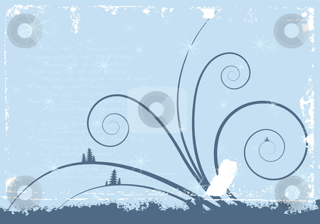Grunge winter background stock vector clipart, Grunge winter background with scrolls and snowflakes by Vadym Nechyporenko