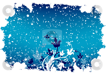 Abstract grunge winter background with flakes and flowers in blu stock vector clipart, Abstract grunge winter background with flakes and flowers in blue color by Vadym Nechyporenko