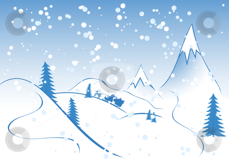 Christmas background stock vector clipart, Winter background, rocks, fir-tree silhouette, nature, snow, santa by Vadym Nechyporenko