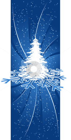 Background with Christmas tree stock vector clipart, Abstract background with Christmas tree rays and snow-flakes by Vadym Nechyporenko