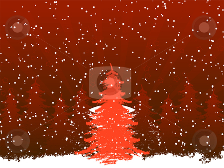 Grunge christmas frame with christmas tree stock vector clipart, Grunge christmas frame with christmas tree and stars by Vadym Nechyporenko