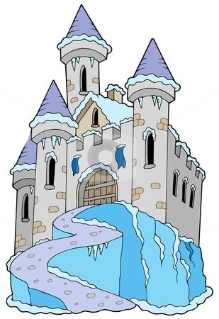 Frozen castle stock vector clipart, Frozen castle on white background - vector illustration. by Klara Viskova