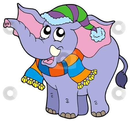 Elephant in winter clothes stock vector clipart, Elephant in winter clothes - vector illustration. by Klara Viskova