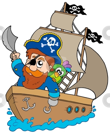 Pirate sailing on ship stock vector clipart, Pirate sailing on ship - vector illustration. by Klara Viskova