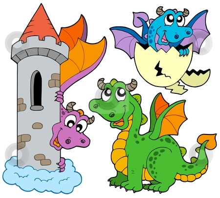 Cute dragons collection stock vector clipart, Cute dragons collection - vector illustration. by Klara Viskova