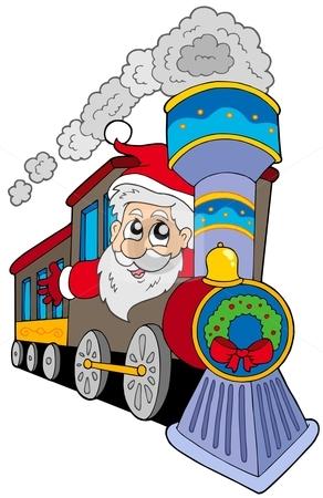 Santa Claus on train stock vector clipart, Santa Claus on train - vector illustration. by Klara Viskova