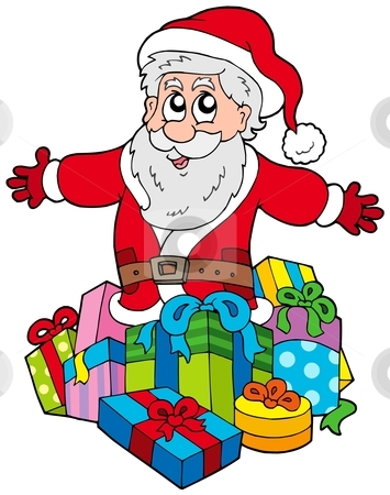 Santa Claus with pile of gifts stock vector clipart, Santa Claus with pile of gifts - vector illustration. by Klara Viskova
