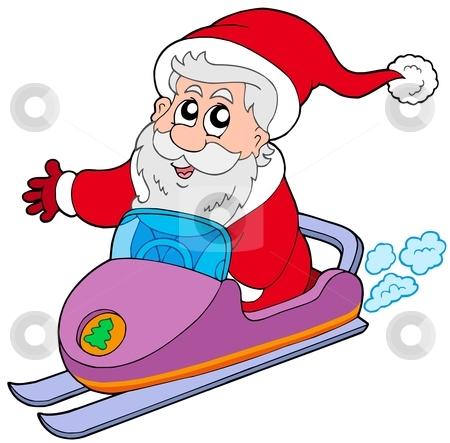 Santa Claus on scooter stock vector clipart, Santa Claus on scooter - vector illustration. by Klara Viskova