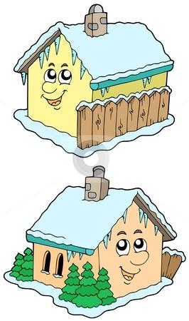 Cartoon winter houses stock vector clipart, Cartoon winter houses - vector illustration. by Klara Viskova