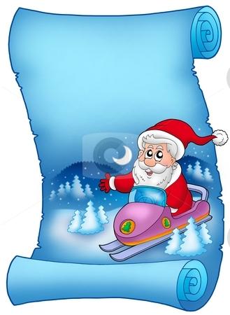 Blue parchment with Santa Claus 8 stock photo, Blue parchment with Santa Claus 8 - color illustration. by Klara Viskova