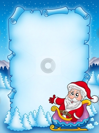 Christmas parchment with Santa Claus 3 stock photo, Christmas parchment with Santa Claus 3 - color illustration. by Klara Viskova