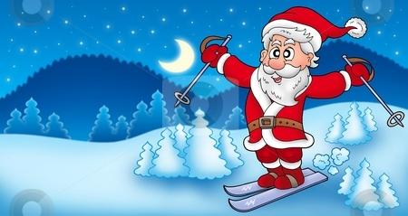 Landscape with skiing Santa Claus stock photo, Landscape with skiing Santa Claus - color illustration. by Klara Viskova