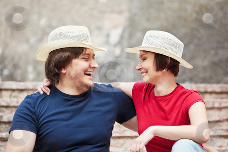 Happy couple stock photo, Happy man and woman looking each other by Natalia Macheda