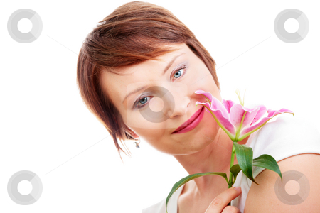 Positive woman with flower stock photo, Positive young woman with flower isolated on white by Natalia Macheda