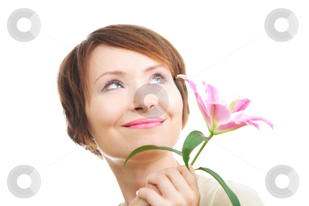 Happy woman with flower stock photo, Happy young woman with flower looking aside up isolated on white by Natalia Macheda