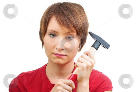 Sad woman with  hammer stock photo, Sad woman with  hammer. Ironic concept of single woman by Natalia Macheda