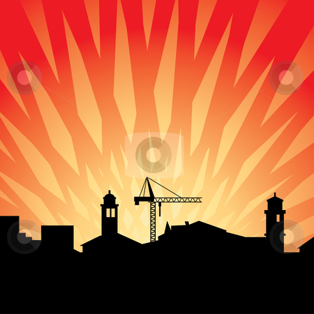 Cityscape stock vector clipart, Vector illustration of early cityscape by ojal_2