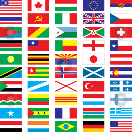 Flags stock vector clipart, 50 vector flags - vector illustration by ojal_2