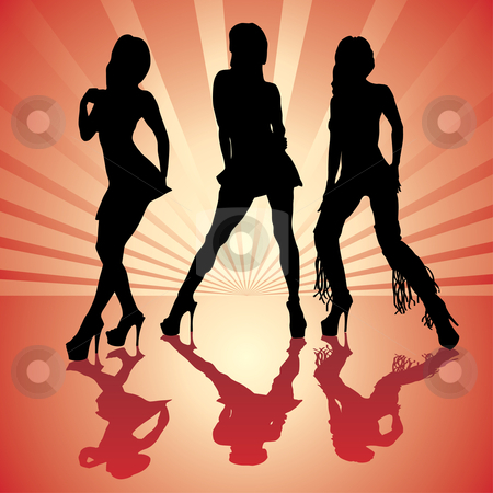 Sexy woman silhouettes stock vector clipart, Vector sexy woman silhouettes in red by ojal_2