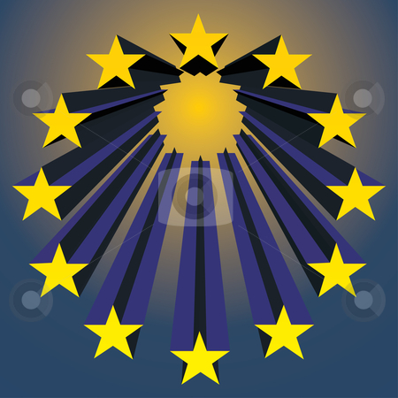 European unions stars stock vector clipart, European unions stars exploding (vector illustration) by ojal_2