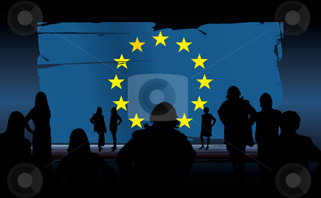 European union flag stock vector clipart, Silhouettes of people in front of an european union flag by ojal_2