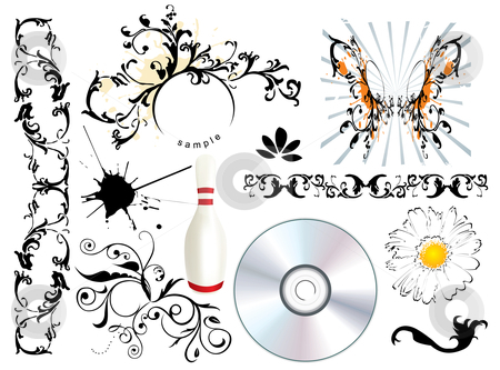 Design elements stock vector clipart, Ornamental, floral grunge design elements - vector by ojal_2