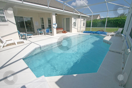 Swimming Pool and Lanai stock photo, A Swimming Pool, Hot Tub and Lanai in Florida. by Lucy Clark