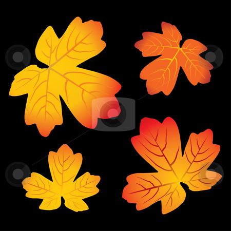 Autumn leaves stock vector clipart, Red and yellow autumn leaves - vector illustration by ojal_2