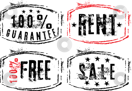 Grunge stamps stock vector clipart, Grunge stamps - guarantee, rent, sale and free by ojal_2