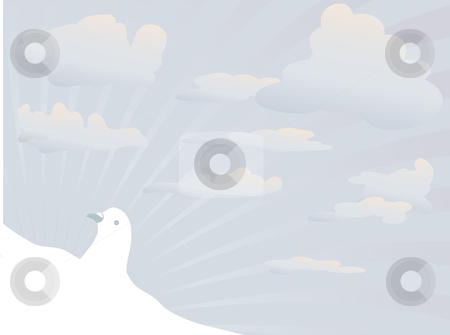 White dove stock vector clipart, White dove on blue sky by Ivan Gajic