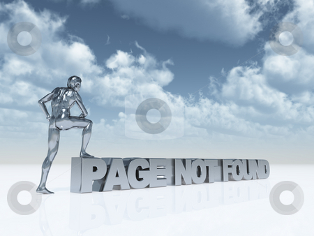 Page not found stock photo, Man with one foot on the text page not found - 3d illustration by J?