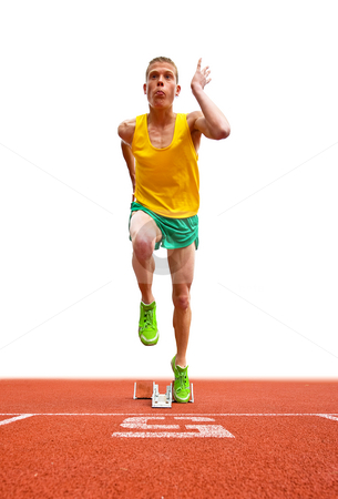 Runner Leaving Starting Block stock photo, A young male runner is leaving the starting block in front of a white background. He is looking up and away from the camera and is viewable full length. Vertically framed shot. by Corepics VOF