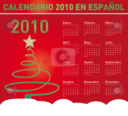 Christmas Calendar 2010 in Spanish stock vector clipart, Christmas themed 2010 Calendar in vector format. In Spanish by Germán Ariel Berra