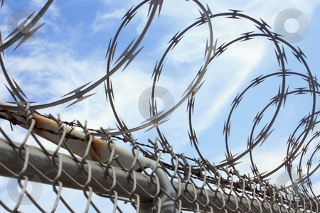 Barbed wire fence stock photo, Barbed wire fence by Gregory Dean
