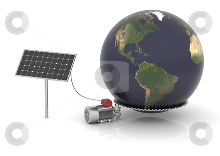 Solar energy can move the world stock photo, Solar panel produces electrical energy and moves the world. Map come from http://visibleearth.nasa.gov by Nuno Andre