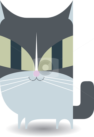 Gray Kitty (Cat)  stock vector clipart, A cute and mischievous gray cat. Available as AI8 EPS. by Joshua Curtis