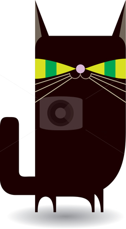 Black Kitty (Cat)  stock vector clipart, A cute take on a scary black cat. Available as AI8 EPS. by Joshua Curtis