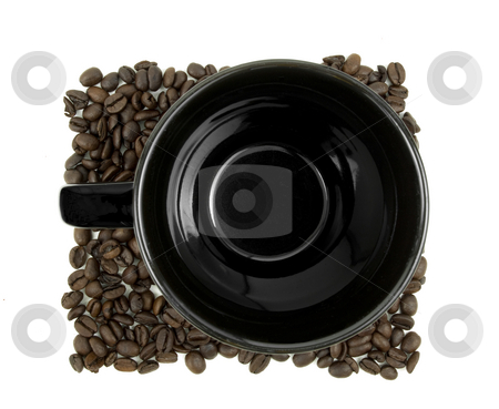 Coffee mug sitting in beans stock photo, Aerial view of coffee mug sitting in beans on white by John Teeter