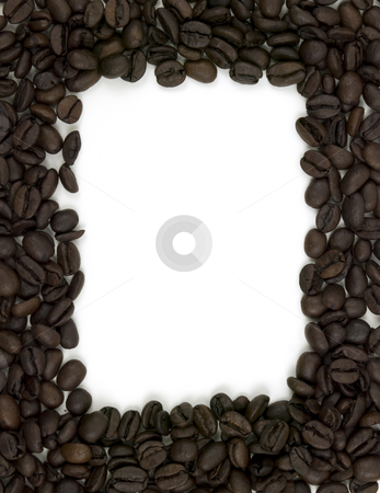 Coffee Bean Boarder stock photo, Coffee bean boarder on a white background by John Teeter