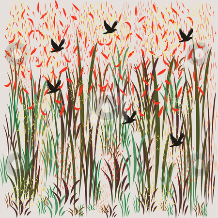 Birds flying through the grasslands stock photo, Birds flying through the grasslands, uses include, wallpaper,wrapping paper, greeting cards by CHERYL LAFOND